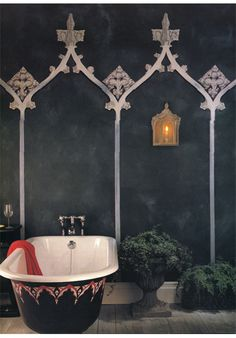Do you like the look of the Gothic bathroom design you've seen and would really like to change up? You can start building your own Gothic bathroom design by using your favorite dark colors for the Gothic design starts to develop. Gothic Bathroom Decor, Modern Bathroom Design, Bathroom Designs, Bathroom Interior, Moroccan Design, Moroccan Decor, Moroccan Style, Modern Moroccan, Decoration Inspiration