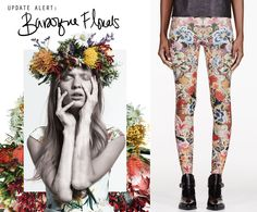 Update Alert:Baroqueflorals in rich huesare on the moveOn the left: Cameo Grand // National collection On the right: Alexander McQueen // Pink & Floral Embroidery Print Leggings