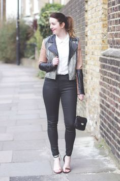 Wallis Black waxed jeans and white lace top   http://bumpkinbetty.com #fashion #monochrome #casualstyle