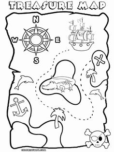 Awesome Treasure Map Coloring Page : Kids Play Color in