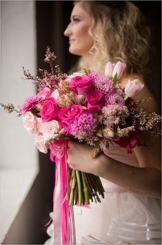 hot pink bridal bouquet #bouquet #hotpink #weddingchicks http://www.weddingchicks.com/2014/02/24/ruffles-and-roses-wedding-inspiration/