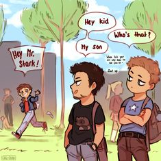 I'm procrastinating the whole day but have this small thing ♡ College AU? probably, what'd you expect from me So while Tony and Steve are either juniors or seniors, Peter is a freshman of course 😁 Love their dad and son relationship! Avengers Humor, Marvel Avengers, Funny Marvel Memes, Dc Memes, Marvel Jokes, Marvel Dc Comics, Marvel Heroes, Disney Marvel, Comics