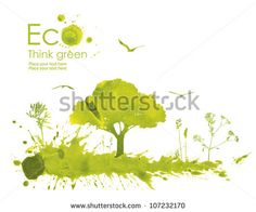 Illustration environmentally friendly planet. Green tree on a meadow from watercolor stains,isolated on a white background. Think Green. Ecology Concept.
