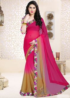 Pink and beige chiffon printed saree
