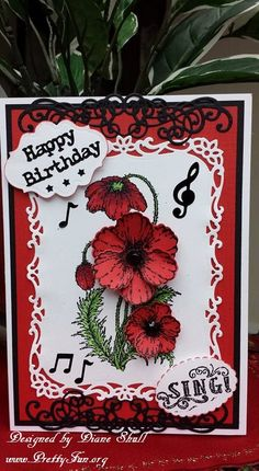 Birthday card designed by Diane Shull using the Heartfelt Creations Blazing Poppy Collection.