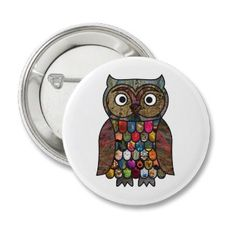 Patchwork #Owl Button Badge