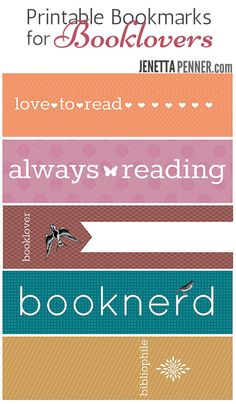 I made you a little something :)  It's cute little set of five Printable Bookmarks for Booklovers.