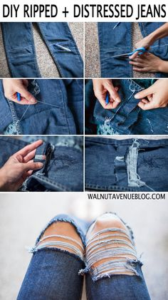 DIY Frayed Distressed Jeans Tutorial
