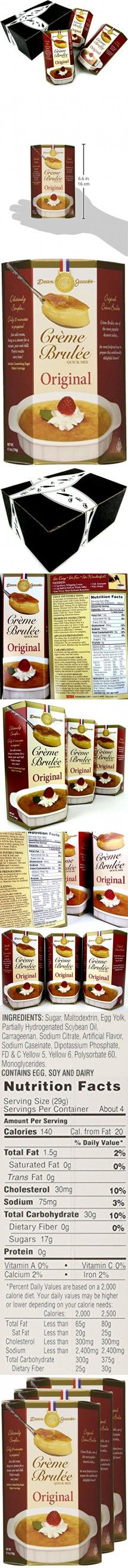 Dean Jacob's Crème Brulée Quick Mix, 4.1 oz Boxes in a BlackTie Box (Pack of 3)