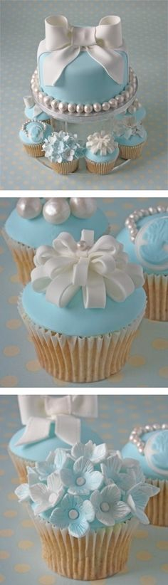 "This is a beautifully decorated blue cake and cupcakes - I could never make it but it's beautiful - perfect or a baby boy shower - or an engagement party as it's ""Tiffany Blue"" Cakes,Cakes and Cupcakes,Di Cupcakes Au Cholocat, Tolle Cupcakes, Cupcakes Design, Cake Designs, Cupcake Cakes, Tiffany Cupcakes, Cupcake Ideas, Party Cupcakes, Cupcake Art"