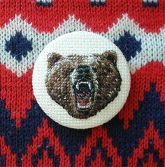 Needlepoint Bear Beast Button