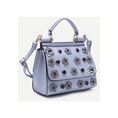 Light Blue Flower And Rhinestone Embellished PU Handbag With Strap (52 BAM) ❤ liked on Polyvore featuring bags, handbags, shoulder bags, light blue shoulder bag, light blue purse, hand bags, purse shoulder bag and flower purse