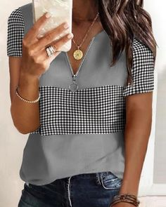 Chic Type, Blouses For Women, T Shirts For Women, Loose Shorts, Short Sleeve Blouse, Short Sleeves, Shirt Blouses, Colorful Shirts, Shirt Style