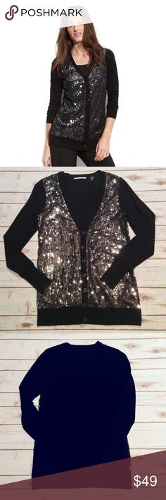 """🆕 NWT T Tahari Black Sequin Cardigan Size Small 🆕 NWT T Tahari Black Sequin Cardigan Size Small/Petite. Mesh overlays the sparkling gunmetal sequins that front the Cardigan with long sleeves. Front button Closure. Material is 70% Viscose and 30% Rayon/Polyester. Hand Wash. Measurements laying flat: Bust: 17.5"""", Length: 27.5"""" and Sleeves: 25"""". 🚫NO TRADES OR LOW BALL OFFERS🚫 T Tahari Sweaters Cardigans"""