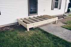 Deck Over Concrete, Concrete Front Porch, Porch Wood, Concrete Steps, Front Porch Deck, Front Porch Addition, House Front, Wood Steps, Patio Steps