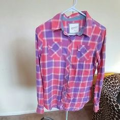 Flannel Pink purple red flannel,long sleeve Alltel front snap pockets  all snaps SNAP Arizona Jean Company Tops Button Down Shirts