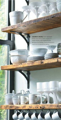 Open shelving to break up the monotony of upper cabinets - visual interest with a rustic flare that would pair wonderfully with darker appliances/cabinets decor diy open shelves 15 Great Design Ideas for Your Kitchen Kitchen Shelves, Kitchen Redo, New Kitchen, Kitchen Small, Kitchen Rustic, Kitchen Ideas, Kitchen Black, Kitchen Cabinets, Kitchen Designs