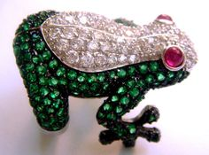 Silver Ring Frog rubies emeralds sapphires от ODMIVINTAGE на Etsy