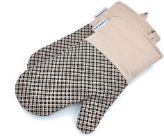 Silicone Oven Mitts Plaid Heat Resistant Cooking Gloves Non-Slip Grip Pot Holders for Kitchen Oven, BBQ Grill and Fire Pits - Ideal for Cooking, Baking 7x13 Inch 1 Pair (khaki) By LA Sweet Home
