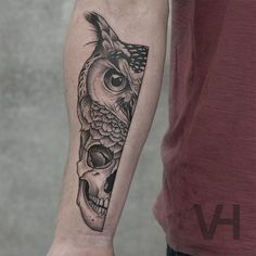 Super cool half owl and skull tattoo on forearm