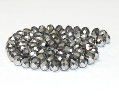 10 x perle electroplate Argente 8x6mm, en Verre, Forme ovale a facette -- PVE-0020.7 : Perles en Verre par crehando