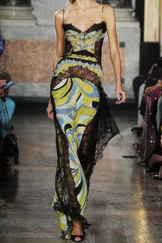 EMILIO PUCCI  Printed lace and satin gown