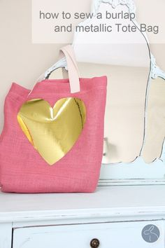 DIY Burlap and Metallic Tote
