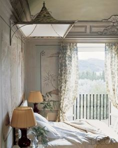 In a bedroom at Villa Le Rose, Leonardo and Maria Beatrice Ferragamo's 15th-century house outside Florence, the chinoiserie details were inspired by the frescoes on the walls; the pagoda canopy is fashioned from the same silk as the curtains
