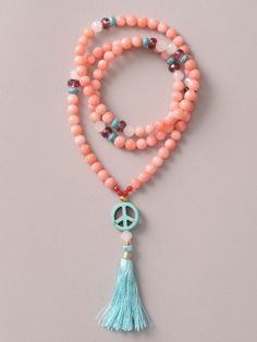 pink coral mala for the 4th (heart) chakra