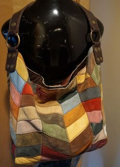 LRG LUCKY BRAND MULTI COLOR PATCHWORK GENUINE LEATHER SUEDE TOTE SHOULDER BAG #LuckyBrand #ShoulderBag