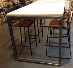 table haute metal bois industrielle