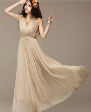 Gasa del cordón del vestido, mujeres del verano de dama de honor de cintura alta Maxi largo(China (Mainland))