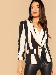 ba2ee3a1df806 D-ring Belted Combo Blazer   My Style in 2019   Pinterest   White ...