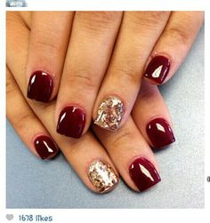 Thinking about getting my nails done like this next. #gelnails #glitter #red #shortnails