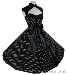 Circle Skirt Dress Black w/ White Polka Dots, $90.00