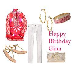bright tunic + white skinny jeans + metallic accessories