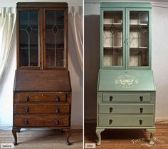 before and after photo, showing dark brown wooden dresser, repainted in pastel turquoise, and decorated with a white graphic Shabby Chic Bedrooms, Shabby Chic Homes, Shabby Chic Decor, Refurbished Furniture, Furniture Makeover, Painted Furniture, Repurposed Furniture, Metallic Furniture, Mahogany Furniture