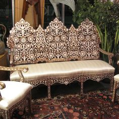Style # 1106 - Syrian Damascene / Moroccan sofa inlaid with mother of pearl.