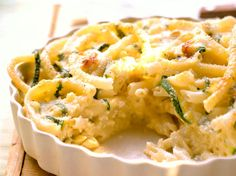 Avec les lectrices reporter de Femme Actuelle, découvrez les recettes de cuisine des internautes : Gratin de macaronis aux courgettes