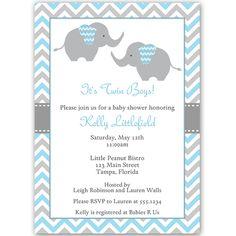 42 best baby shower elephant invitations images on pinterest chevron elephant blue twins baby shower invitation filmwisefo