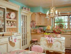 love this shabby chic kitchen!! :-)
