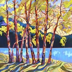 Tree Tangles, contemporary landscape painting of trees, painting by artist Carolee Clark