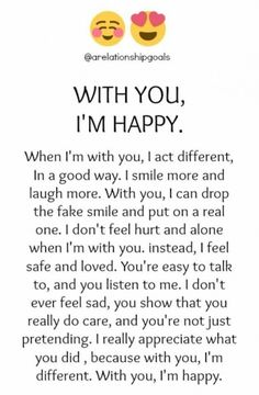 i Love You Sweetheart more and more with every breathe i take! You make me Happy my Sweet Love! i am All Yours All the time Baby! Soulmate Love Quotes, Bae Quotes, Cute Love Quotes, Romantic Love Quotes, Boyfriend Quotes, Love Quotes For Him, Crush Quotes, You Make Me Happy Quotes, Story Quotes