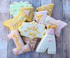 Boho Birthday / Wild One Sugar Cookies 1 by LaPetiteCookie First Birthday Cookies, 1 Year Old Birthday Party, Twin First Birthday, Birthday Cake Girls, Baby Birthday, First Birthday Parties, Birthday Ideas, 1st Birthdays, Wild Ones