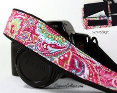Pink Paisley dSLR Camera Strap, Pocket,  Psychedelic, SLR. $35.00, via Etsy.