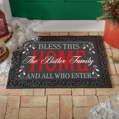 There's no place like home for the holidays. Let our cheery doormat make sure all your guests feel welcome in your home. Recycled Rubber, Personalized Christmas Gifts, Holiday Wishes, Christmas Decorations, Holiday Decor, Feeling Special, Doormat, How To Find Out, Unique Gifts