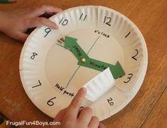 Math > Time/Date Use paper plates to make a clock for teaching time Teaching Time, Student Teaching, Teaching Clock, Learning Time Clock, Teaching Methods, Math Classroom, Kindergarten Math, Fun Math, Math Activities