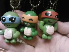 Three polymer clay ninja turtles... Venus de Milo, Michelangelo, and Raphael  Find me on deviantART - http://shadydarkgirl.deviantart.com/ Facebook - https://www.facebook.com/pages/Shadydarkcharms/232655030216599 and Etsy - https://www.etsy.com/shop/ShadyDarkCharms?ref=si_shop