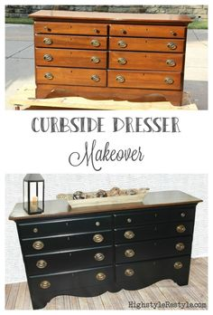 Curbside dresser makeover with paint and stain by Highstyle ReStyle  http://www.highstylerestyle.com/blog/curbside-dresser-makeover-with-stain-and-chalky-paint