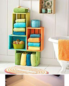 Colorful Wooden Crate Storage Ideas   DIY Bathroom Organization Ideas